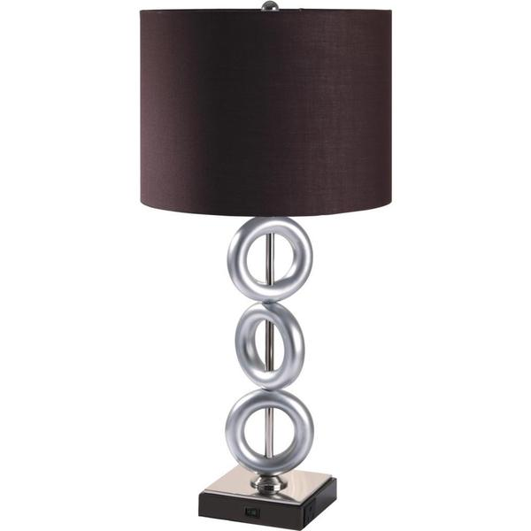 Single-light Gunmetal 3-ring Table Lamp with Outlet Base