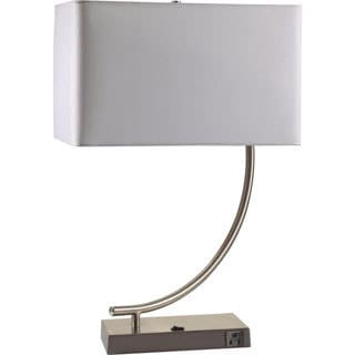 Single-light Contemporary Chrome Table Lamp with Outlet Base