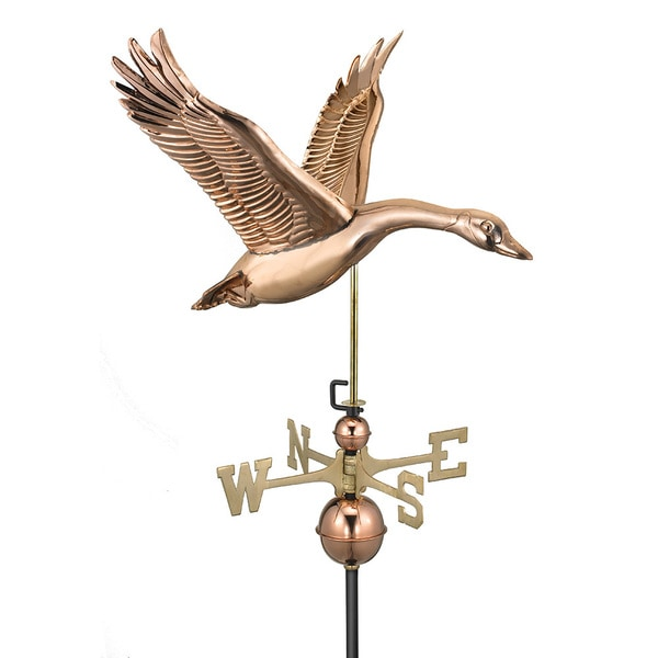 Feathered Goose Polished Copper Weathervane