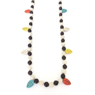 Gardenia Jewelry Multi-colored Turquoise and Leaves Beaded Necklace