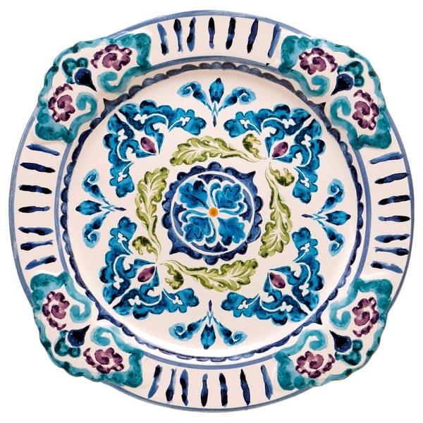 Hand-painted Mood Indigo 14-inch Round Ceramic Serving Platter