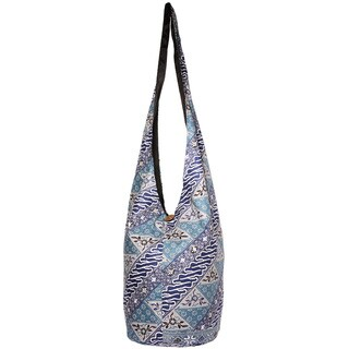 Handmade Boho Chic Blue Flower Power Shoulder Bag (Indonesia)
