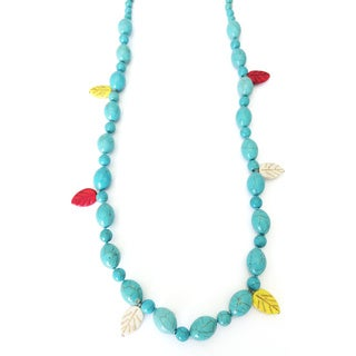 Gardenia Jewelry Turquoise and Leaves 39-inch Beaded Necklace