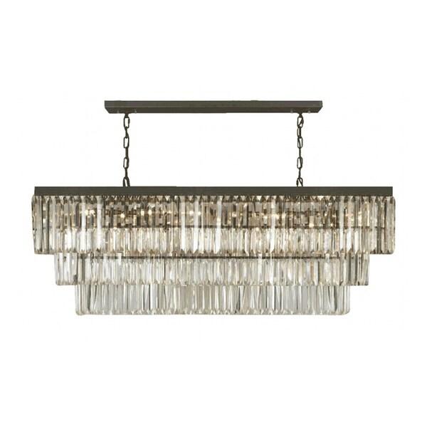 Gallery Odeon Crystal Fringe 12-light Rectangular Chandelier ...