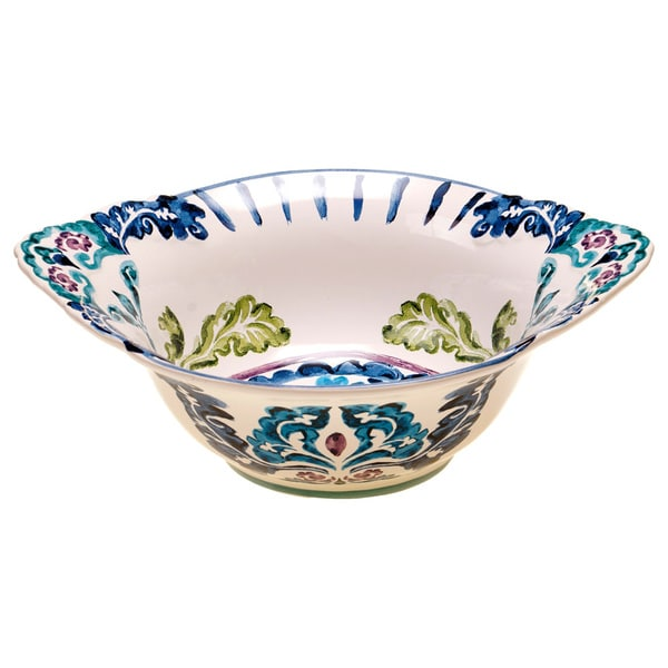 Hand-painted Mood Indigo 14-inch Ceramic Serving Bowl