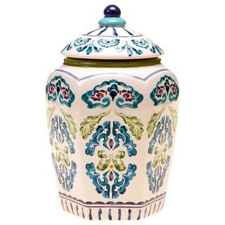 Hand-painted Mood Indigo 10.25-inch Ceramic Biscotti Jar