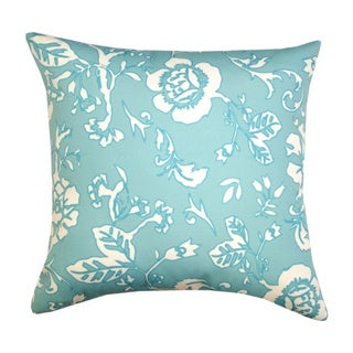 Hand-crafted Blue Floral Outdoor Throw Pillow (India)