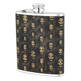 Stainless Steel 6-ounce Flask with Black and Gold Skulls Genuine Leather Cover