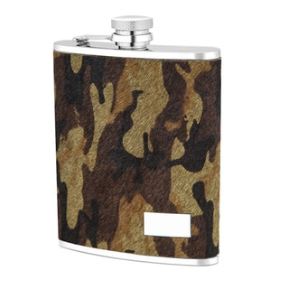Stainless Steel Camo Genuine Leather Cover 6-ounce Flask