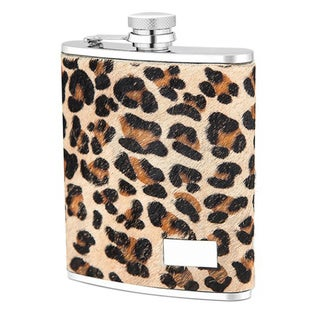 Leopard-print Genuine Leather Cover Stainless Steel 6-ounce Flask