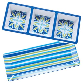 Hand-painted Mediterranean 2-piece Melamine Appetizer Set