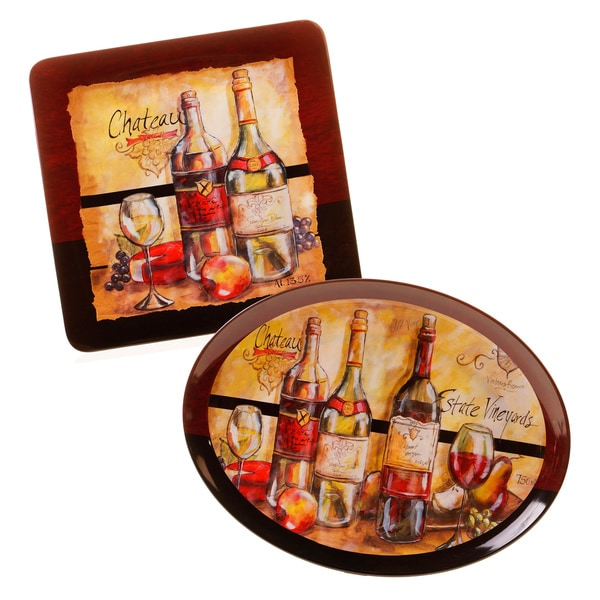 Hand-painted Estate Wine 2-piece Melamine Platter Set