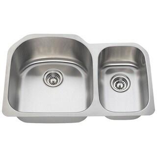 Polaris Sinks PL1213-16 Offset Double Bowl Stainless Steel Kitchen Sink