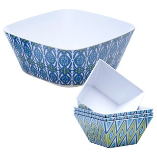 Hand-painted Mediterranean 5-piece Melamine Serving Set