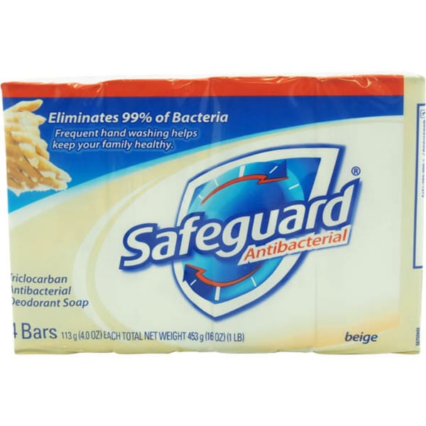 Safeguard Deodorant 4-ounce Beige Antibacterial Bar Soap (Pack of 4)