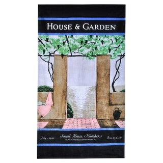 House & Garden Patio Scene Beach Towel