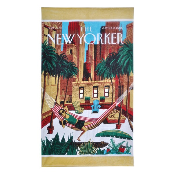 The New Yorker Rooftop Girl Cotton Beach Towel