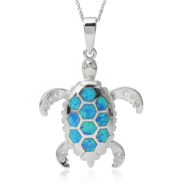 Journee Collection Sterling Silver Cubic Zirconia Opal Sea Turtle Pendant