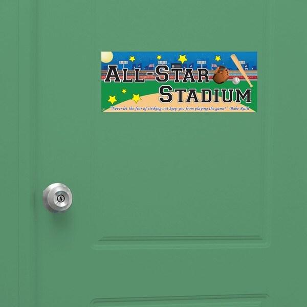 Peel & Stick Baseball Door Sign