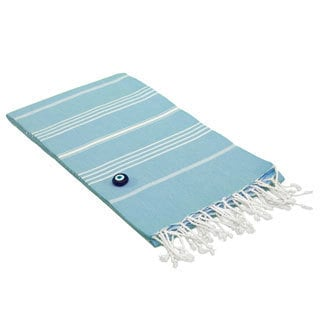 Authentic Pestemal Fouta Original Sky Blue Stripe Turkish Cotton Bath/ Beach Towel