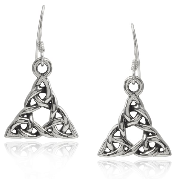 Journee Collection Sterling Silver Celtic Triangle Hook Earrings