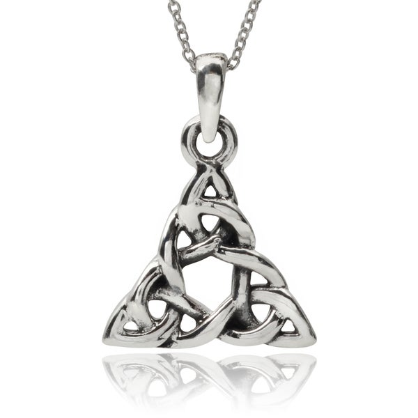 Journee Collection Sterling Silver Celtic Triangle Pendant