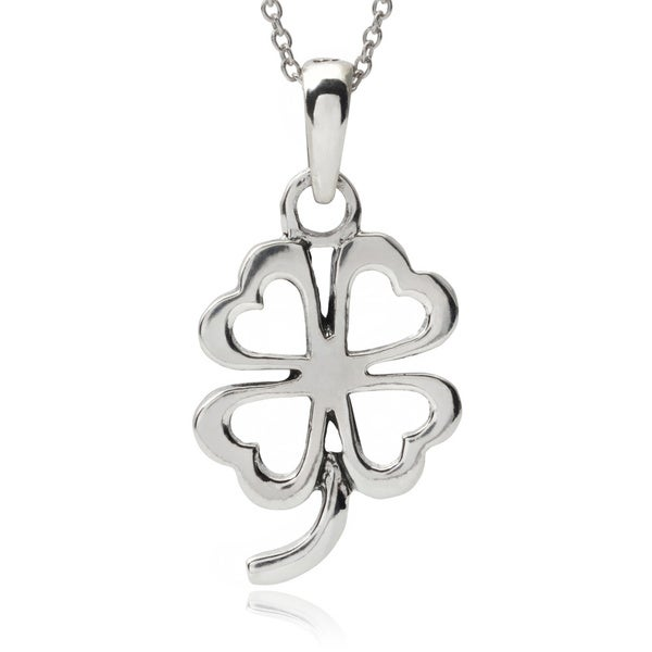 Journee Collection Sterling Silver Four-leaf Clover Pendant