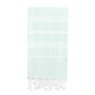 Authentic Pestemal Fouta Original Aqua Blue/ White Stripe Turkish Cotton Bath/ Beach Towel
