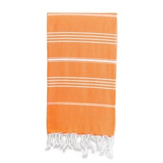 Authentic Pestemal Fouta Original Deep Orange and White Stripe Turkish Cotton Bath/ Beach Towel