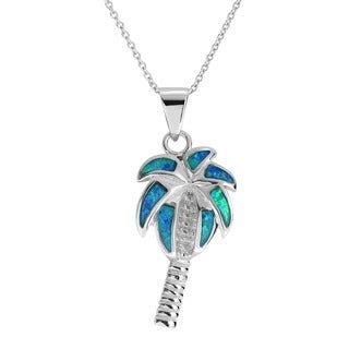 Journee Collection Sterling Silver Opal Palm Tree Pendant
