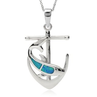 Tressa Collection Sterling Silver Opal Dolphin Anchor Pendant