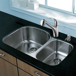 Vigo All-in-one 31-inch Undermount Double Bowl Stainless Steel Kitchen Sink and Faucet Set