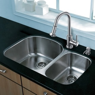 Vigo 31-inch Undermount Double Bowl Stainless Steel Kitchen Sink and Faucet Set