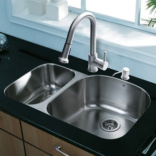 Vigo All-in-one 31-inch Undermount Stainless Steel Double Bowl Kitchen Sink and Faucet Set