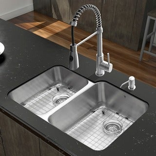 Vigo 32-inch Stainless Steel Double Bowl Kitchen Sink and Faucet Set