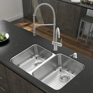 Vigo All-in-one 32-inch Undermount Double Bowl Stainless Steel Kitchen Sink and Faucet Set
