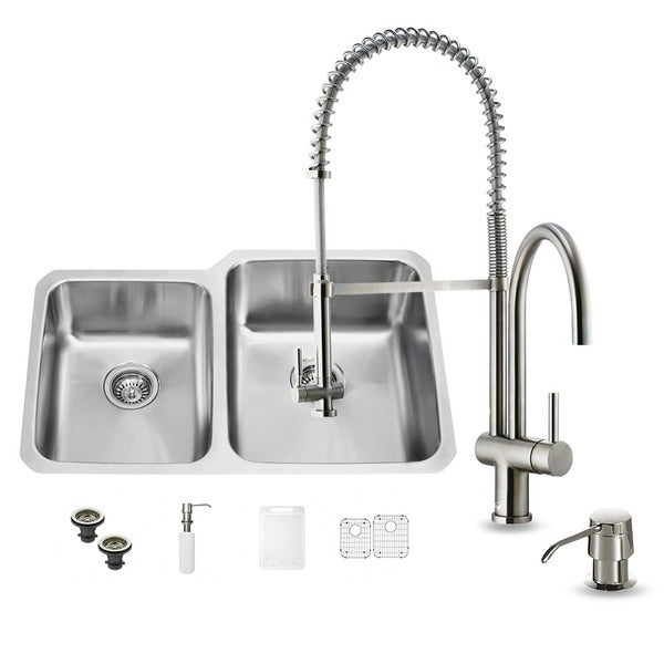 Vigo All In One 32 Inch Undermount Double Bowl Stainless Steel Kitchen Sink And Faucet Set