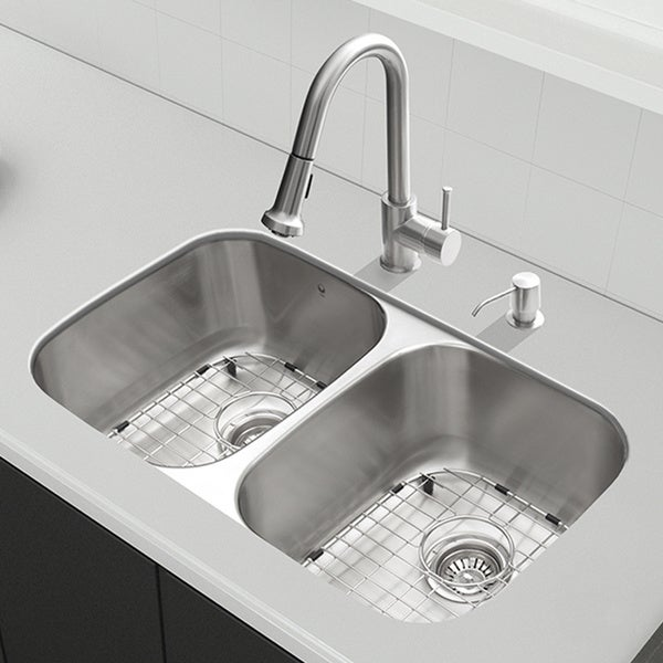 32 Inch Undermount Kitchen Sink : Kraus 32 inch Undermount Double Bowl Stainless Steel Kitchen Sink with ...