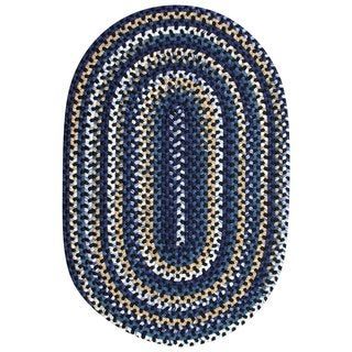 Watch Hill Black and Navy Braided Rug (8' x 11')