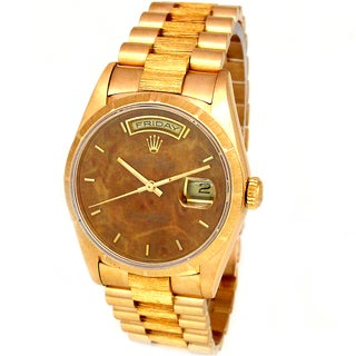 Pre-Owned Rolex Men's President 18k Yellow Gold Wood Dial Watch