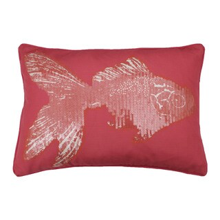 Goldie Goldfish Coral Sequined Feather Fill Throw Pillow