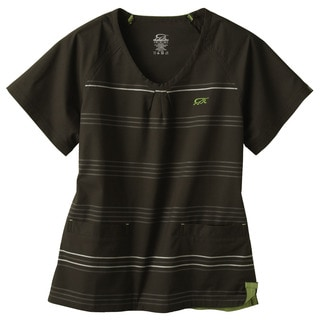 IguanaMed Women's Carbon Black Horizontal Stripe Scrubs Top