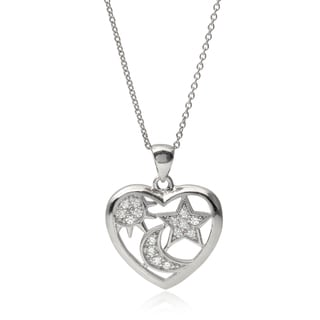 Journee Collection Sterling Silver Cubic Zirconia 'Sun Moon Star Heart' Pendant