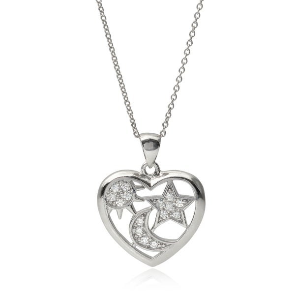 Journee Collection Sterling Silver Cubic Zirconia Sun Moon Star Heart Pendant