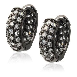 Journee Collection Sterling Silver Gunmetal Cubic Zirconia Hugger Earrings