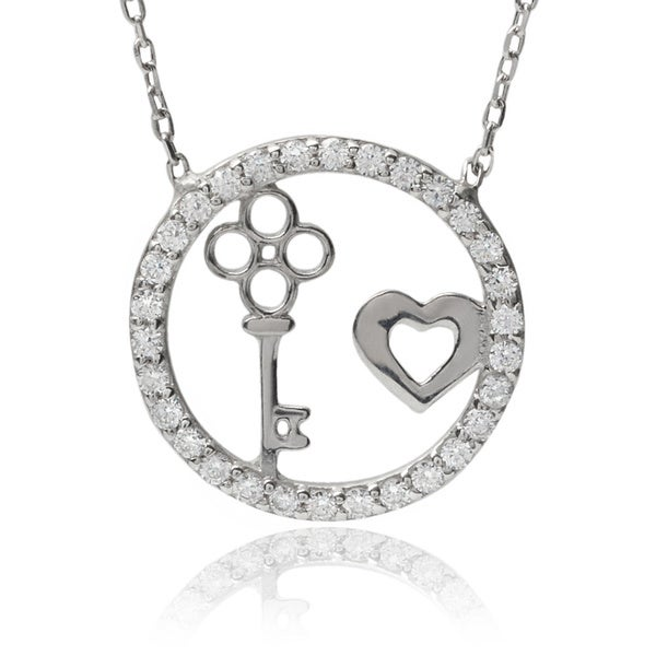 Journee Collection Sterling Silver Cubic Zirconia Circle Heart Key Pendant