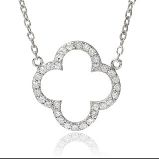 Tressa Collection Sterling Silver Cubic Zirconia Quatrefoil Cross Pendant