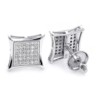 Sterling Silver 1/3ct TDW Diamond Pave Stud Earrings (H-I, SI1-SI2)