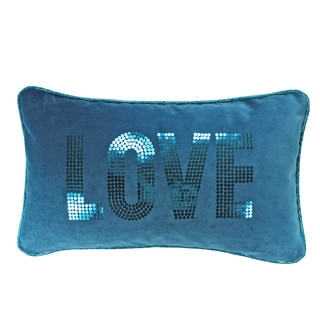 Jackson Morgan Love Turquoise Sequined Letters Throw Pillow