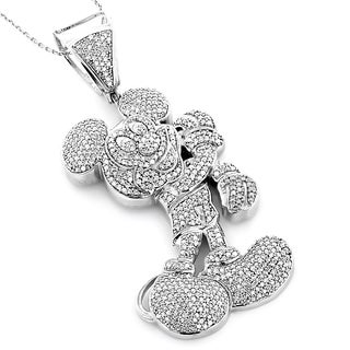 Luxurman 10k White Gold 3 1/4ct Diamond Mickey Mouse Necklace